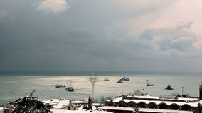 Heavy snow fall and snowstorm in Istanbul stock video footage