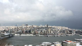 Heavy snow fall and snowstorm in Istanbul stock footage