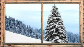 Heavy snow falling in wooded area seen through window stock video footage