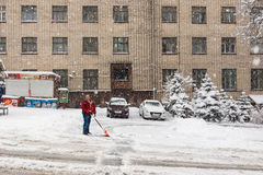 Heavy snow in Kiev, Ukraine, February 5, 2015 Royalty Free Stock Photos