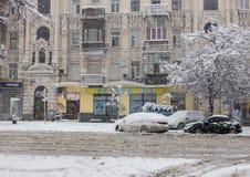 Heavy snow in Kiev, Ukraine, February 5, 2015 Royalty Free Stock Photography