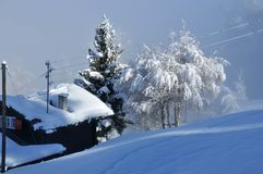 Heavy snow on a log cabin Royalty Free Stock Photography