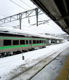 Train railway station in the snow Royalty Free Stock Photography