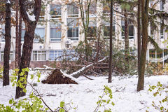 Heavy snow in Moldova, view of streets in city centre Stock Images