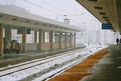 Zhengzhou Railway Station. After a heavy snow, in order to ensure the safety of passengers traveling, the Zhengzhou Railway Station laid a slip mat on the Stock Image
