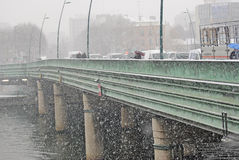 Heavy snow in Paris Royalty Free Stock Photo