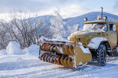 Heavy snow plough truck Stock Photo