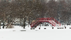 Heavy Snow on the Red Bridge Royalty Free Stock Images