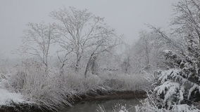 Heavy snow on the river. Winter weather stock footage