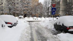 Heavy snow on the road Stock Photo