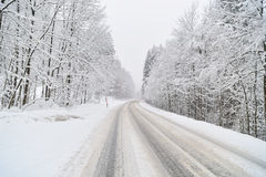 Road covered by snow. Royalty Free Stock Image