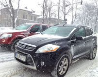 Heavy snow slowing traffic Stock Image