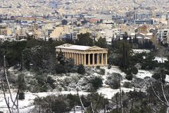 Heavy snow storm hits Athens, Greece Stock Photography