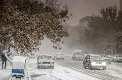 Heavy snow in Tabriz Stock Photo