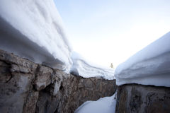 Heavy snow. On the wall roof Royalty Free Stock Photography