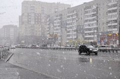 Heavy snowfall on April 25, 2014 in Tyumen. Royalty Free Stock Images
