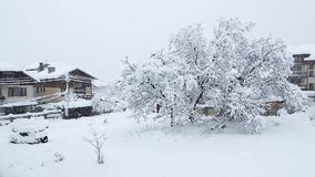 Heavy snowfall in Bansko stock footage