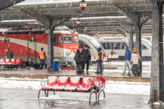 Heavy Snowfall In Bucharest North Railway Station Royalty Free Stock Photography