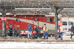 Heavy Snowfall In Bucharest North Railway Station Stock Photography