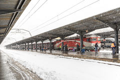 Heavy Snowfall In Bucharest North Railway Station Stock Photo