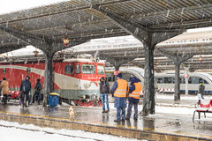 Heavy Snowfall In Bucharest North Railway Station Stock Photos