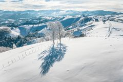 Heavy snowfall in the Carpathian mountains. Aerial shot after a snowfall using a high resolution drone royalty free stock photography