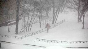 Heavy snowfall in the city. stock footage