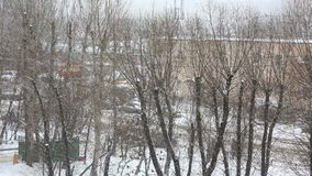 Heavy snowfall in the city stock video footage