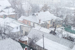 Heavy snowfall on a city street Royalty Free Stock Photo