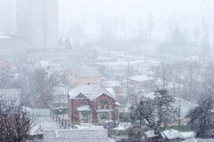 Heavy snowfall on a city street Royalty Free Stock Photography