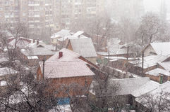 Heavy snowfall on a city street Stock Photography