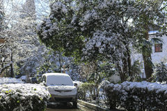 Heavy snowfall in the city streets, houses and cars Stock Photo