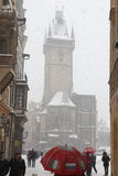 Heavy snowfall covering Old Town Square in Prague Stock Image