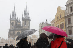 Heavy snowfall covering Old Town Square in Prague Stock Images