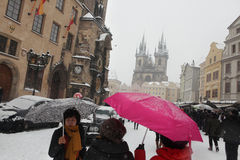Heavy snowfall covering Old Town Square in Prague Royalty Free Stock Photo