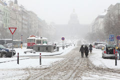 Heavy snowfall covering Wenceslas Square in Prague Stock Images