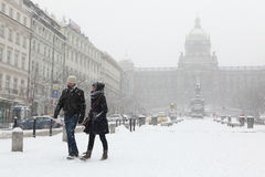 Heavy snowfall covering Wenceslas Square in Prague Stock Photography