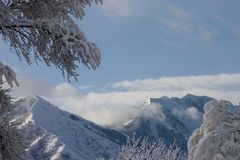 Heavy snowfall on Flonette Peak Royalty Free Stock Photography