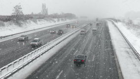 Heavy snowfall on German highway stock video footage