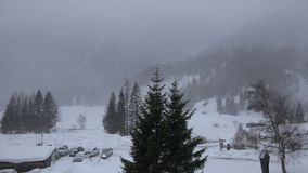 Snowfall in Kalser valley, Austria. Heavy snowfall with gusts of strong wind in the remote Kalser Valley in the Hohe Tauern nature reserve of Tirol, Austria stock video