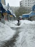 Heavy snowfall hits Chisinau in the middle of spring royalty free stock images
