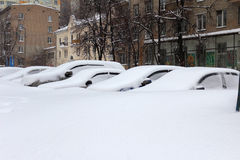 Snowfall in Moscow Stock Images