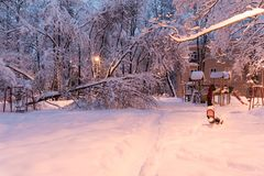 Heavy snowfall in Moscow. houses and streets during blizzard Royalty Free Stock Photography