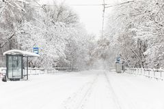 Heavy snowfall in Moscow. Snow-covered roads and fallen trees during a snowfall. Collapse of public transport Stock Image