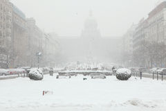Heavy snowfall over Wenceslas Square in Prague, Czech Republic. Royalty Free Stock Photo