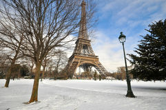 Heavy snowfall in Paris Stock Images