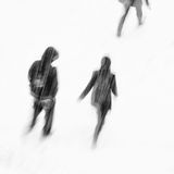 Heavy snowfall with people Royalty Free Stock Images