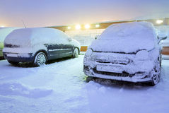 Heavy snowfall in Poland Stock Photo