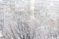 Heavy snowfall or snowstorm. In urban area or city Stock Photography