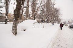 Heavy snowfall in winter Stock Photos